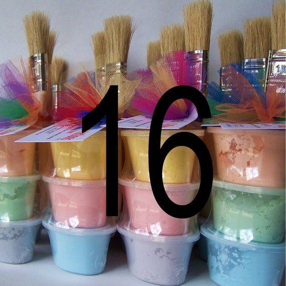 Side walk paint birthday party favors!