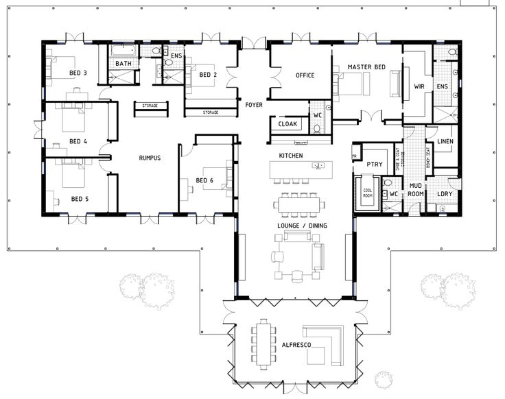 If you're after a big home with 6 bedrooms, I found this one for you! Click on the image to view it larger. If you look through all the details you can see it has a huge amount of storage – love that. I also like how the rumpus and all the bedrooms are together. The Master is away from everything else but is based off the main area. Have a look at that walk-in-robe! This would be the perfect house for a large family. Here's where I found the original plan. Pop here to see more Floor Plan's.