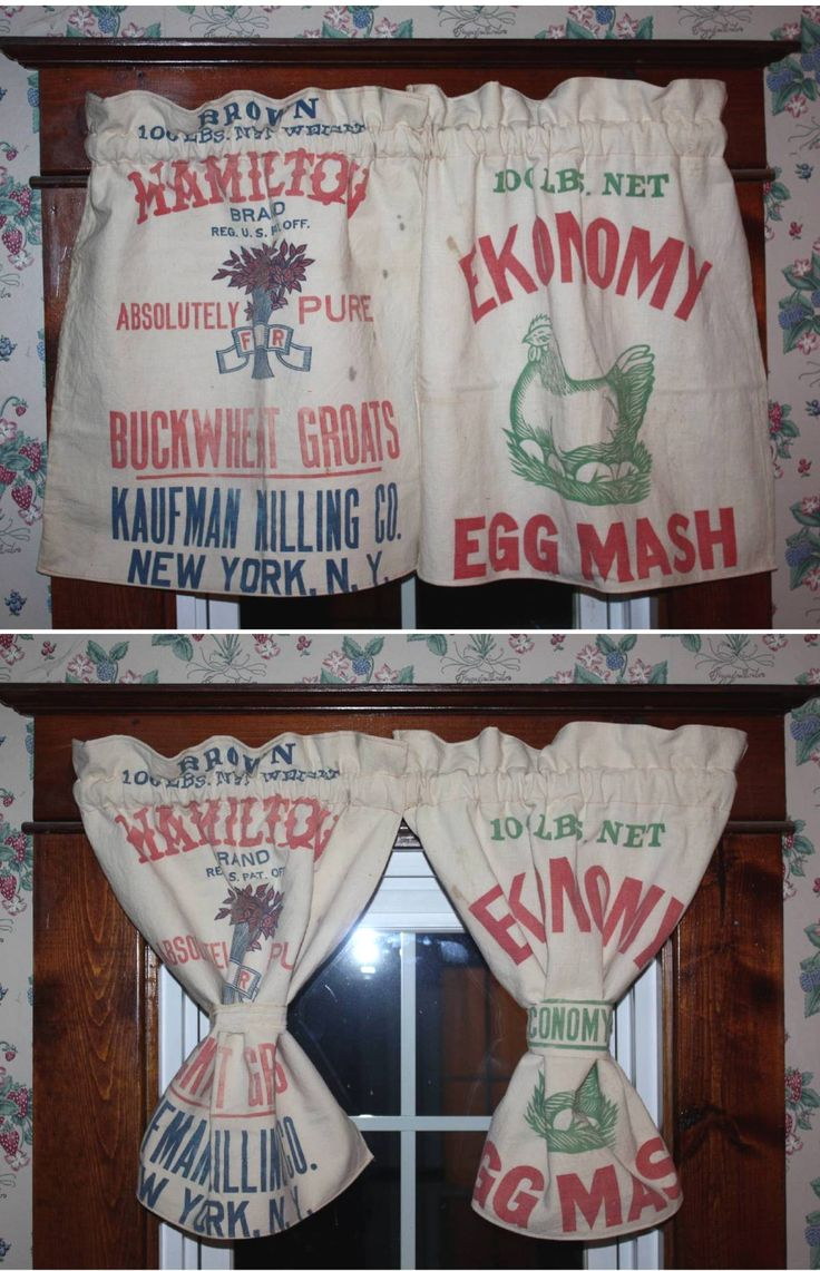 Curtains Made From Vintage Feed Sack S That I M Sewing For