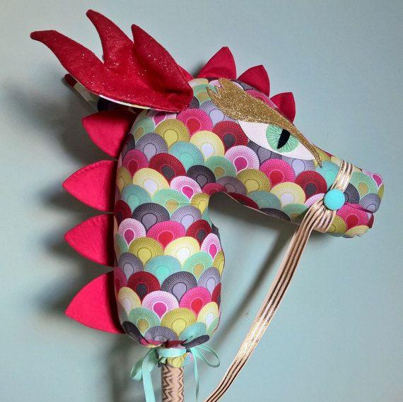Handmade Hobby Dragon Custom Stick Horse Hobby Horse by DeLishDuds