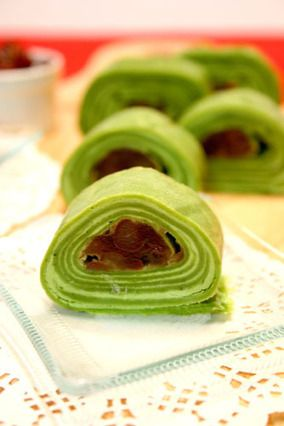 Matcha azuki roll crepe -  a good Vegetarian crepe recipe you may want to explore  (you will have to use the google translater if you do not read Japanese)    -think Matcha http://www.recipe-blog.jp/profile/15096/recipe/133614