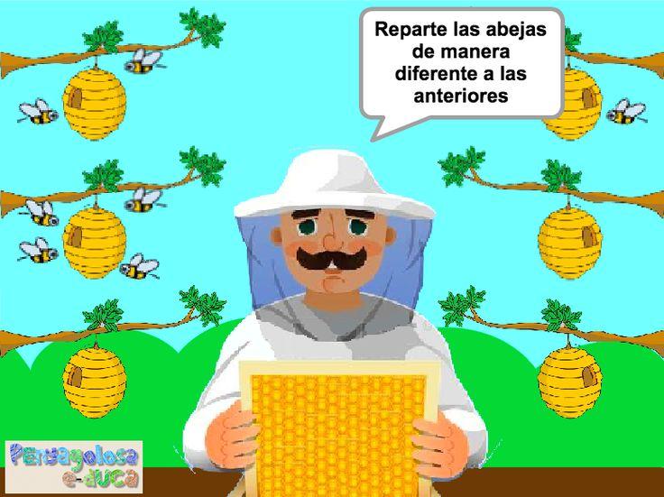 ABN - SENTIDO DEL NÚMERO – REPARTO IRREGULAR – Repartir abejas en 2 partes de 3 maneras diferentes (1-6) – En este juego se trabaja el reparto irregular en dos partes. El jugador/a debe repartir abejas, entre dos panales, de tres formas diferentes.