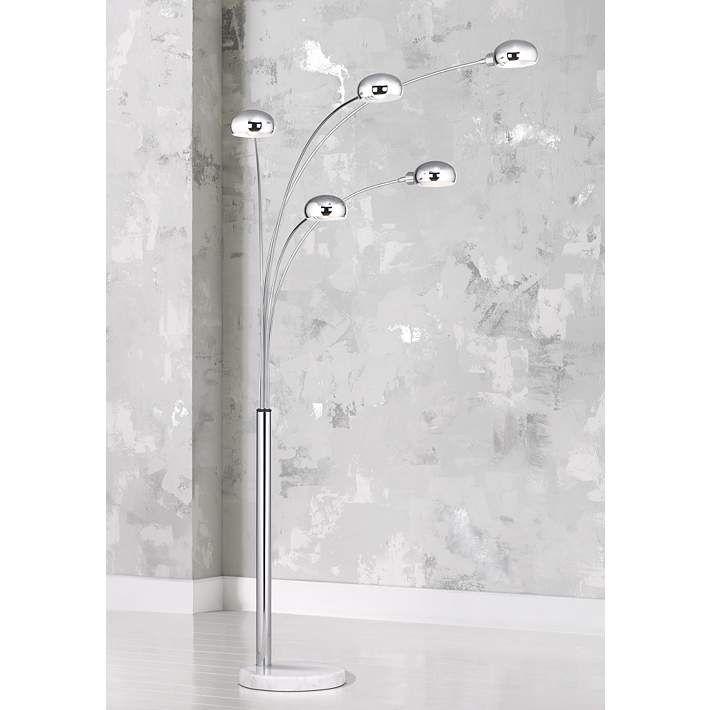 Marble Base Five Light Arc Floor Lamp - #M0734 | Lamps Plus