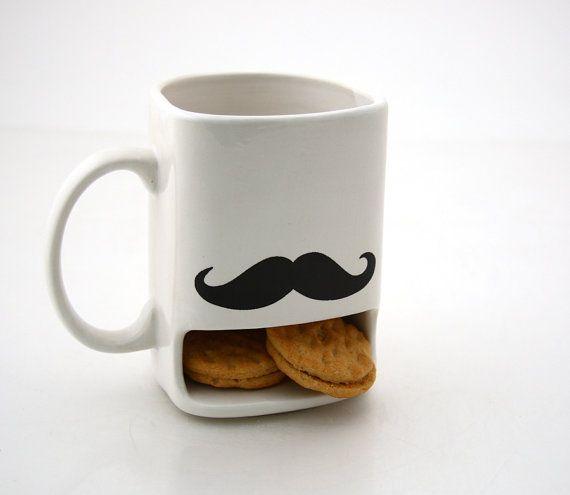 Mustache moustache dunk mug by LennyMud on Etsy, $20.00