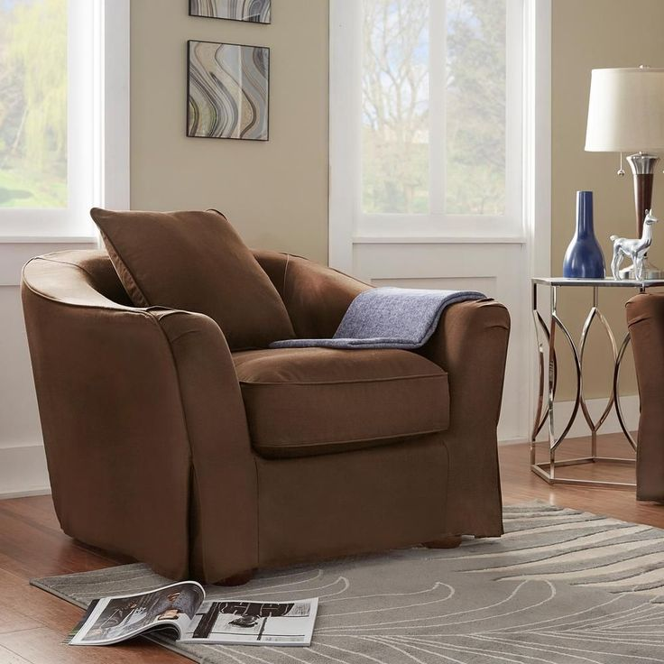 Sydney Brown Down-Filled Slipcovered Arm Chair