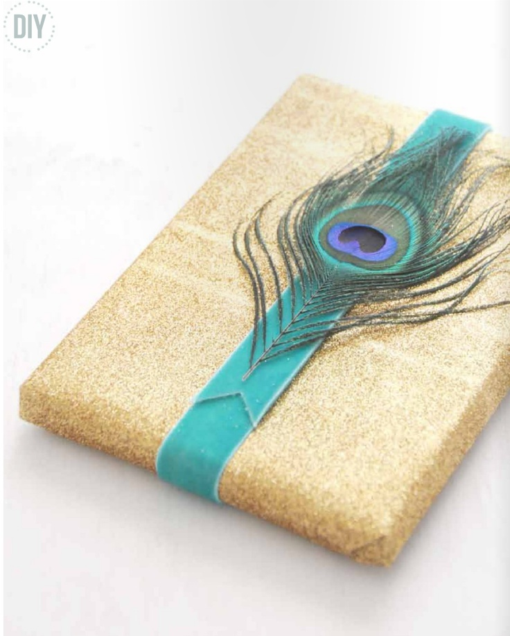 beautiful feather on gift