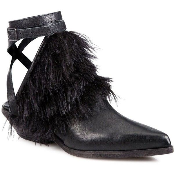 LD Tuttle The Lounge Leather & Feather Cowboy Booties (170.525 CLP) ❤ liked on Polyvore featuring shoes, boots, ankle booties, black, ankle cowboy boots, black leather boots, ankle strap booties, black leather bootie and black leather ankle booties