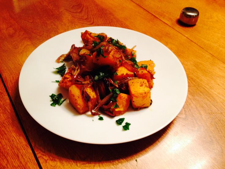 Roasted Butternut Squash with Indian Spices and Caramelized Onions