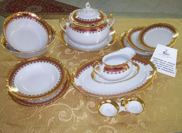 Traditional Czech Porcelain set with gold. & 12 best HOME: Czech Porcelain Dishes images on Pinterest | Fine ...