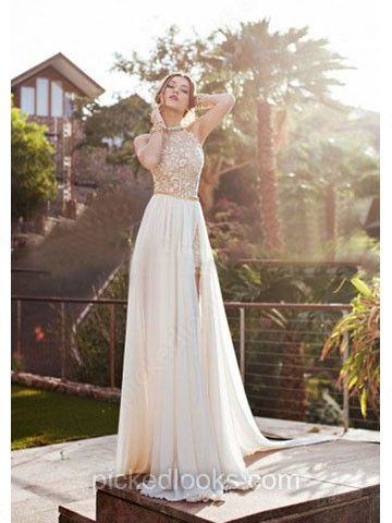 A-line Scoop Neck Chiffon Court Train Beading Prom Dresses -NZD$218.99