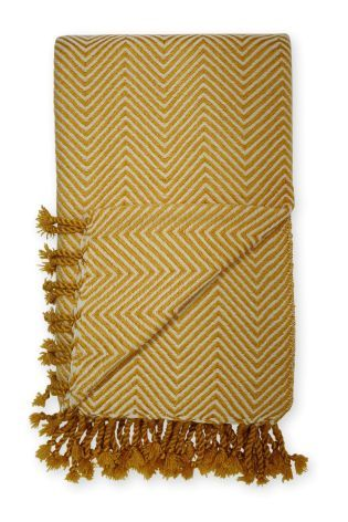 Buy Ochre Woven Zig Zag Throw from the Next UK online shop