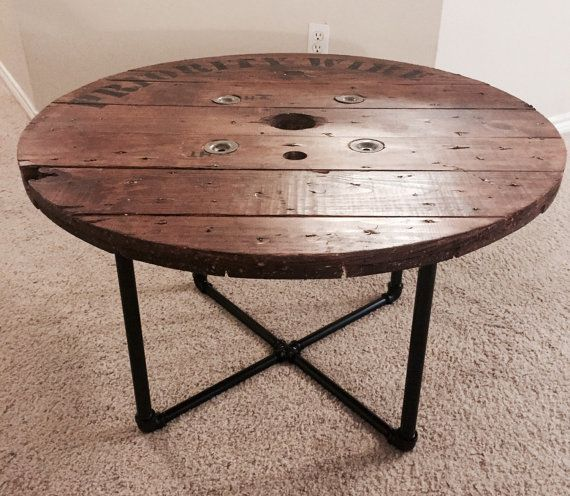 •We have 28 and 36 spool coffee table or side tables available. All pieces come from salvaged, functional electrical spools so they all have