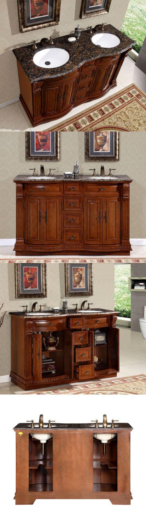 Gemini 59 inch modern single sink vanity set free shipping today - Vanities 115625 55 Granite Stone Top Bathroom Vanity Cabinet Furniture Double White Sink 223bb
