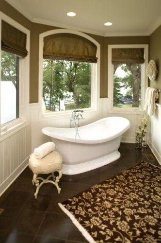 dark floors, white wainscoting, color walls: Bathroom Design, Romans Shades, Colors Wall, Dark Tile Floors, Arches Window Treatments, Master Bedrooms, Traditional Bathroom, Bathroom Ideas, Master Bathroom