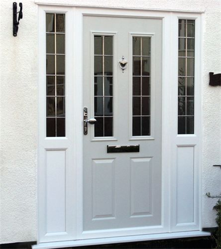 composite door custom ral grey colour composite door with side panels and lead square glass