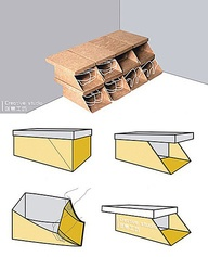 Ячейки для обуви из коробок
