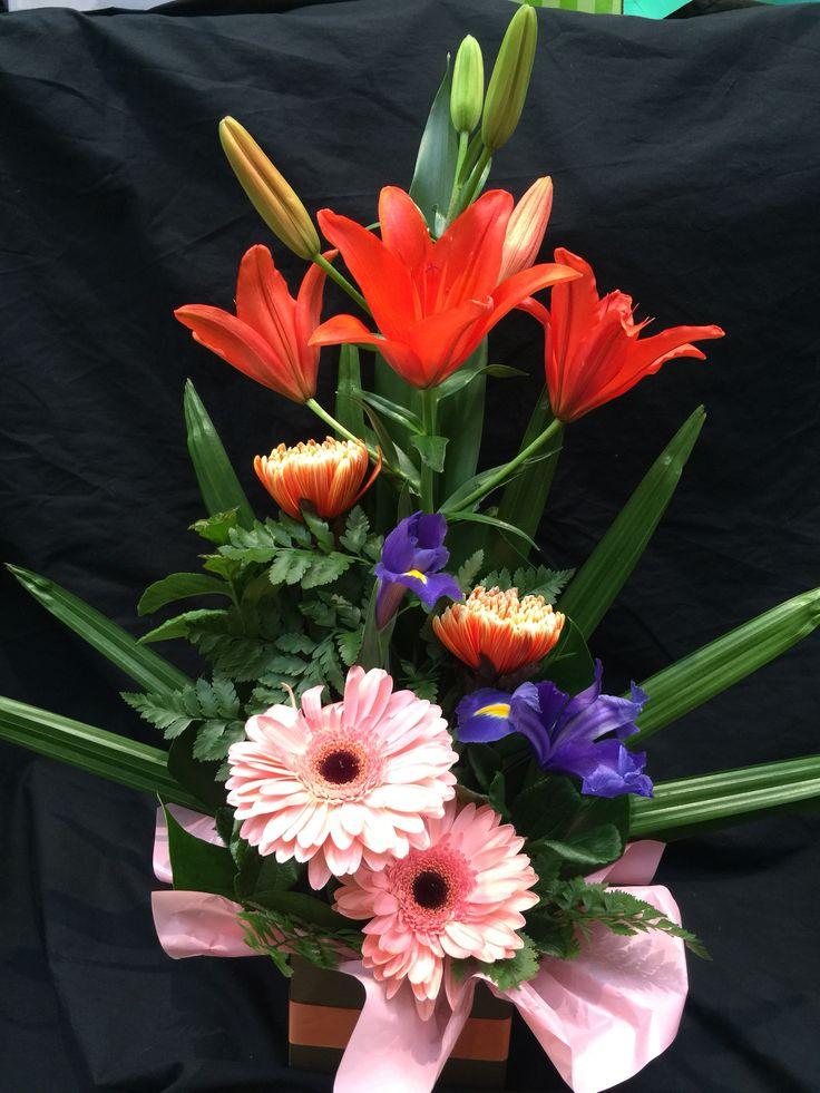 Disbud chrysanthemum, gerbera, Lily & Iris box arrangement