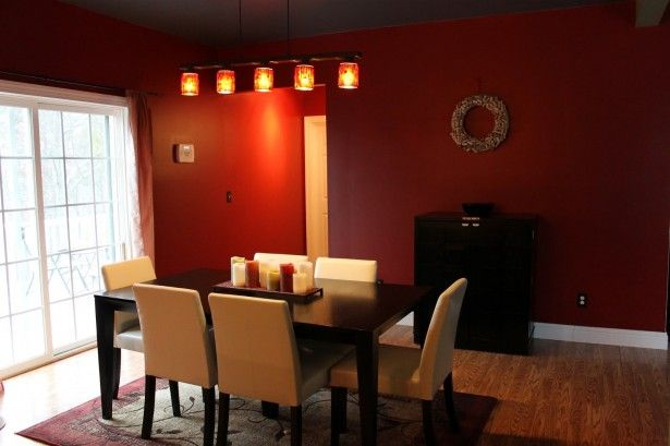 Romantic Red Dining Room And Track Lighting Plus White Upholstered Chairs Design