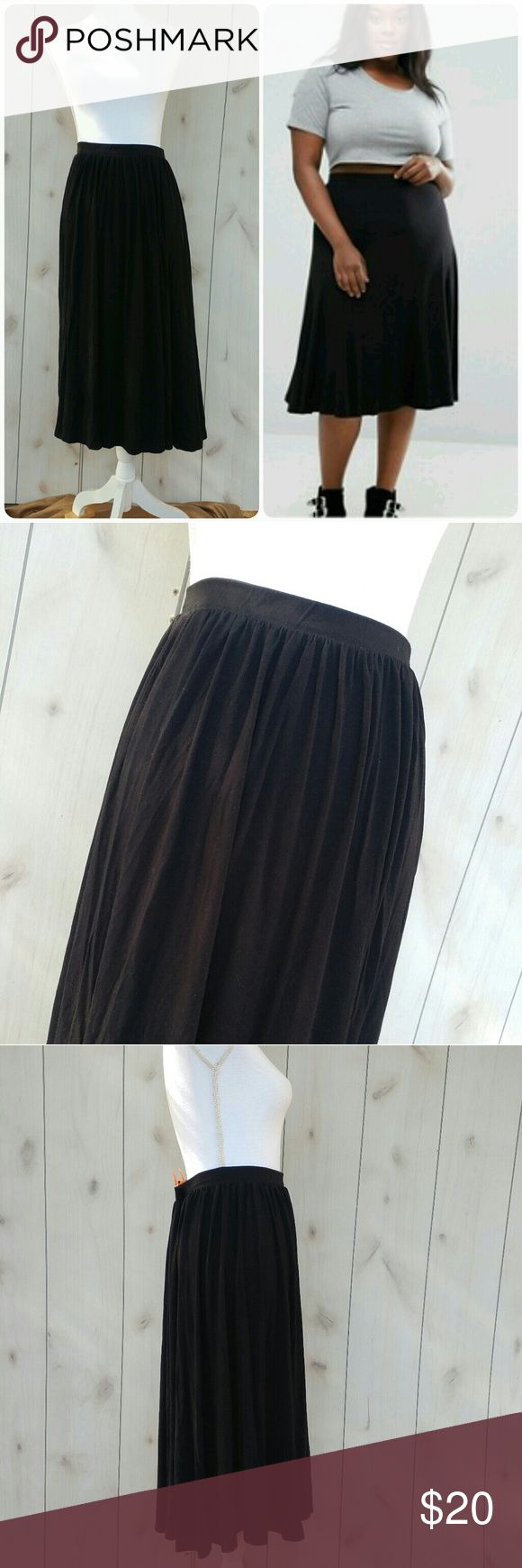 "Asos Curve midi skirt Excellent pre owned condition midi skirt by Asos Curve Size 16 All black No visible wear Lightly pleated  Missing fabric content tag but fabric feels soft and does have stretch to it Waist has elastic band   Waist 16"" Length 31"" ASOS Curve Skirts Midi"