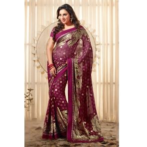 Pink Faux Georgette Saree with Patch work and Lace work