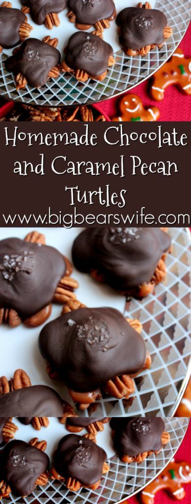 Homemade Chocolate and Caramel Pecan Turtles - I made these last Christmas and gave them out in adorable little buckets for Christmas gifts!