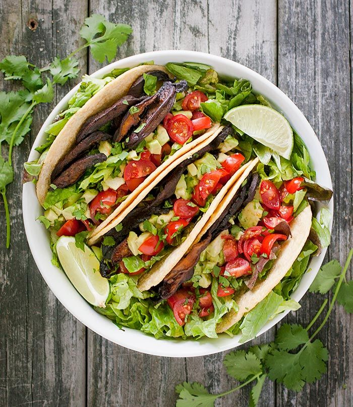 Vegetarian BLT Tacos - my new favorite thing: roasted shiitake bacon! So savory and delicious, naturally vegan with wholesome seasonings, and served in a warm corn tortilla with lettuce, tomatoes, and avocado.