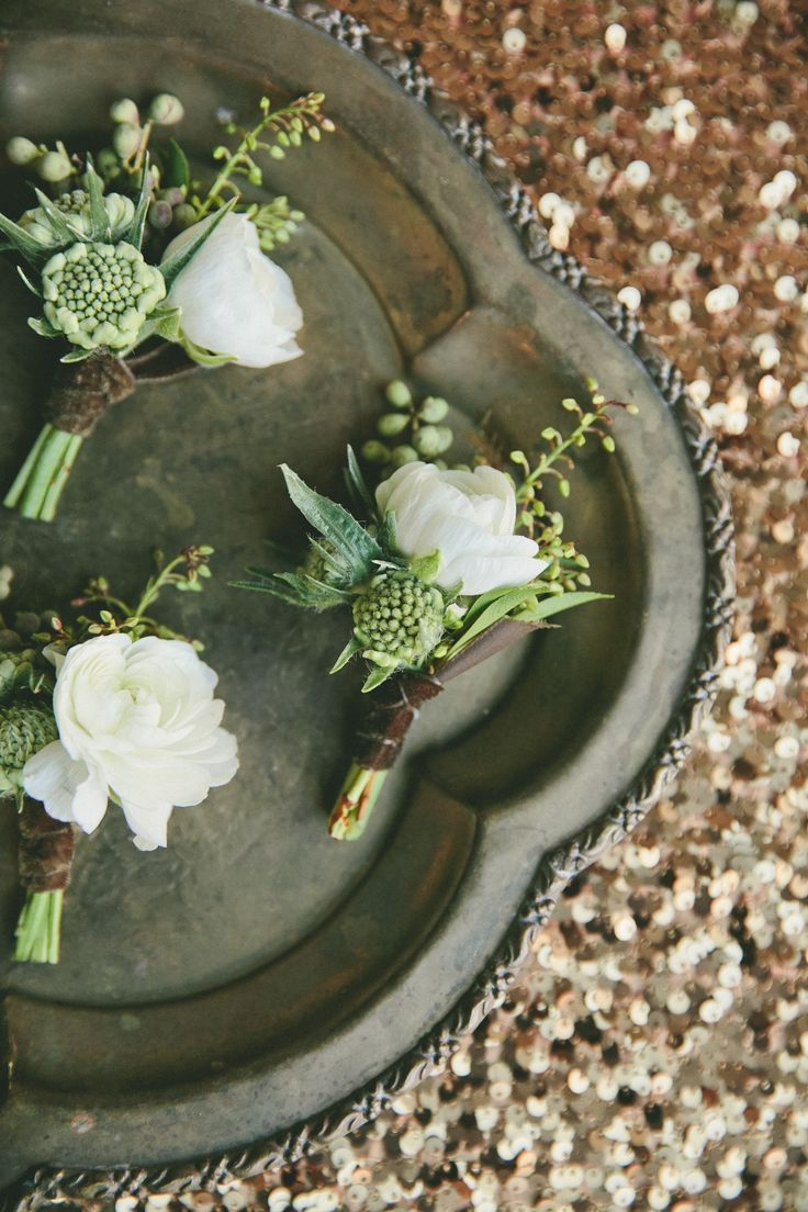 Boutonnieres: See the wedding on SMP: http://www.StyleMePretty.com/2014/02/28/botanical-inspired-wedding-at-marvimon/ onelove photography onelove photography