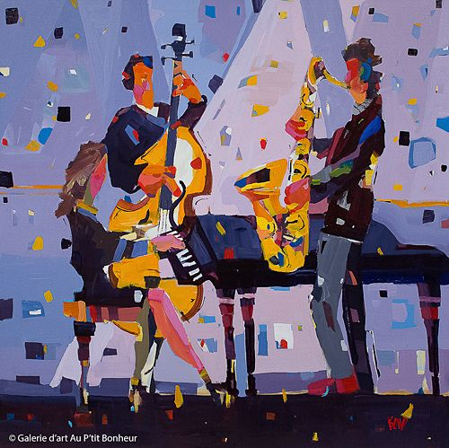 Rick Bond, 'Piano Blues', 40'' x 40'' | Galerie d'art - Au P'tit Bonheur - Art Gallery