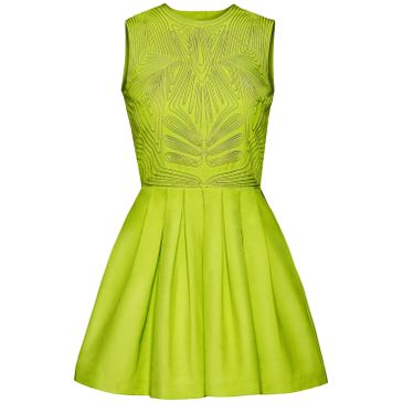 h conscious collection neon yellow beaded dress.
