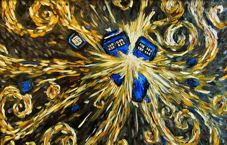 tardis explosion docteur who van gogh Van Gogh, les parodies et les geeks  geek featured design art