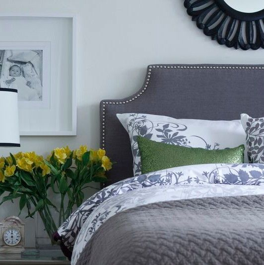 Good Looking wall mounted headboards in Bedroom Eclectic with Headboard Sconce next to Linen Headboard alongside Charcoal Wall and Corner Headboard