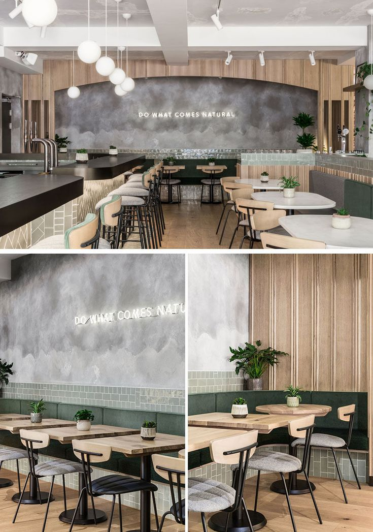 This modern restaurant uses a soft neutral palette…