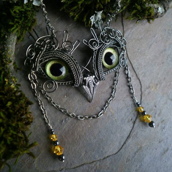 Gothic Steampunk Baby Girl Owl with Green Eyes