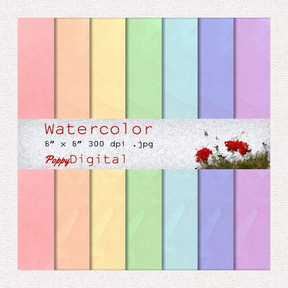 Digital Paper Pack Watercolor Pastel Patterns Backgrounds Texture Overlay - Instant Download