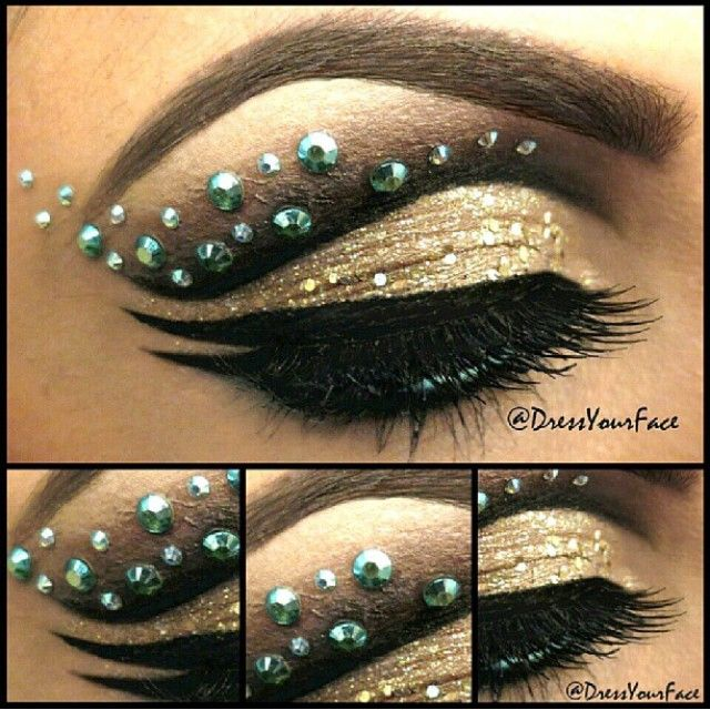 Glittery golden eye shadow with dramatic black winged liner accented with crystals.