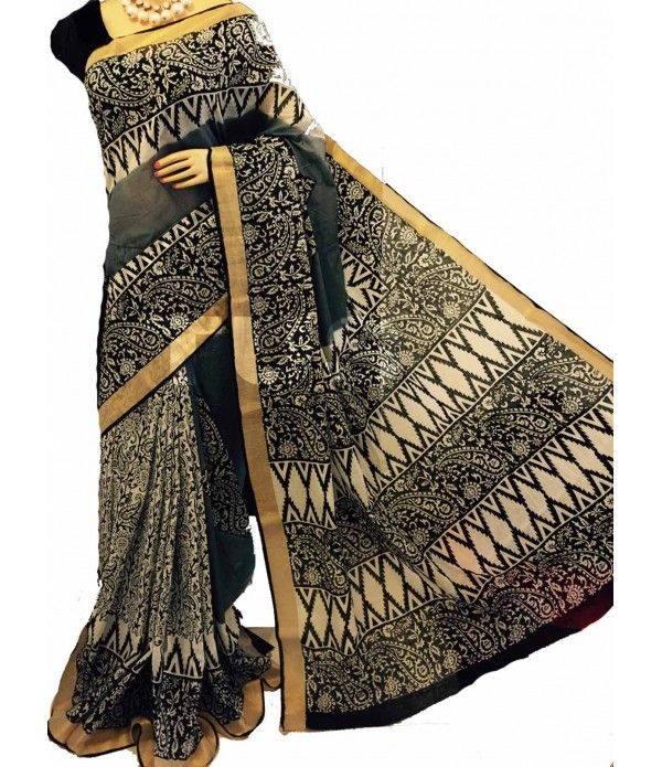 Black Block Print Kerala Cotton Saree
