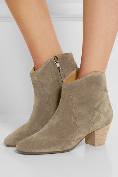 Heel measures approximately 55mm/ 2 inches Olive suede Zip fastening along side Designer color: Taupe Made in FranceLarge to size. See Size & Fit notes.