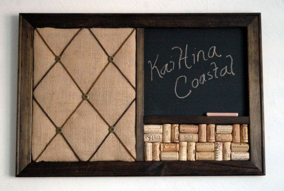 Burlap French Memo Board, Wine Cork board & Chalkboard Kitchen Organizer