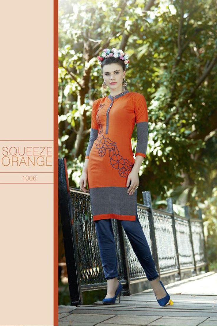 Simple Casual Wear Printed Cotton Kurti With Simple Work..