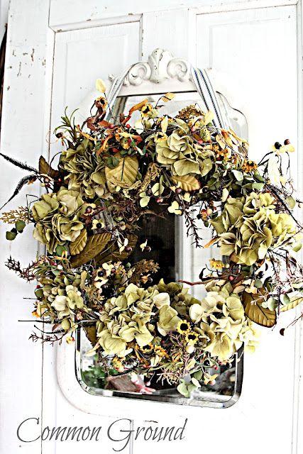 Common Ground: Hydrangea WreathDecor Ideas, Doors Decor, Fall Dry, Fall Autumn, Fall Wreaths, Front Doors Wreaths, Common Ground, Dry Wreaths, Hydrangeas Wreaths
