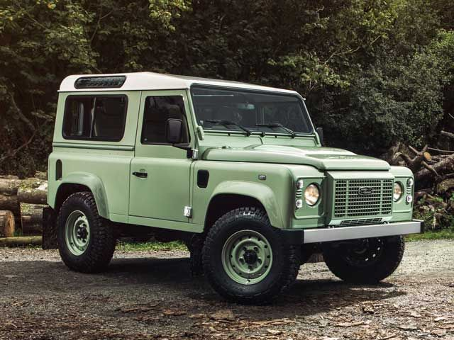 // Defender Celebrations Edition 2015 Heritage Grasmere Green Defender 90 hard-top/Station Wagon and 110 Station Wagon features a Series I-style grille and retro badging, plus special 'HUE 166' graphics recalling the first pre-production Land Rover built in 1947. Priced from £27,800, just 400 will be available in the UK.