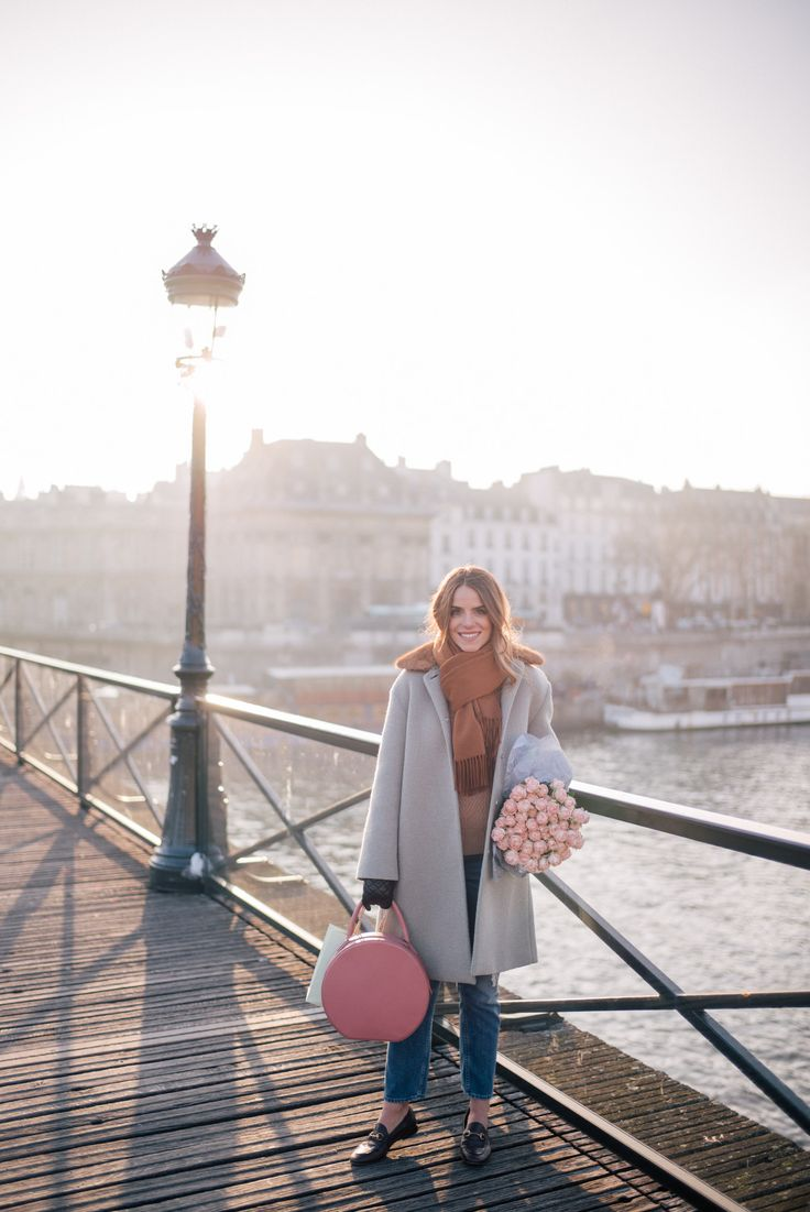 Gal Meets Glam Winter In Paris -RED Valentino coat, Sezane shirt, Demylee sweater, MOTHER Jeans, Gucci loafers, Mansur Gavriel Bag & Max Mara Scarf