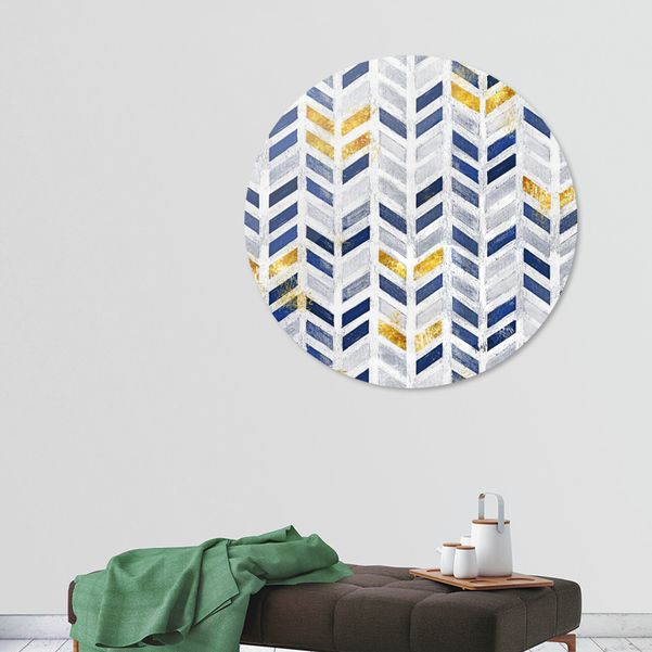 Modern Blue Gold Acrylic Canvas Herringbone Chevron Pattern Disk By Tanjica Perovic Limited Edition From 99 Acrylic Canvas Chevron Pattern Blue Gold