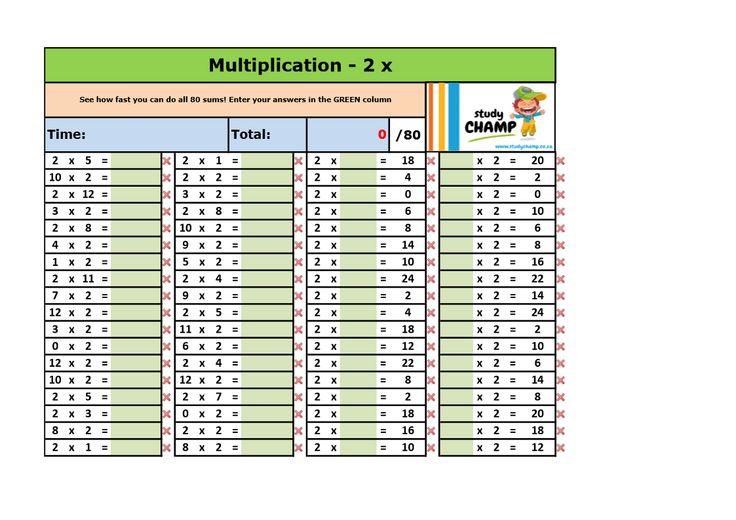 Mathematics : Times Tables Excel Workbook