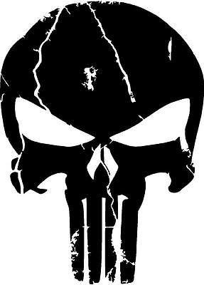 Distressed Punisher Skull Premium Vinyl Decal