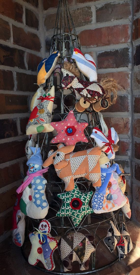 Vintage Cutter Quilt Christmas Ornaments Farm By Reddirtthreads Christmas Ornaments