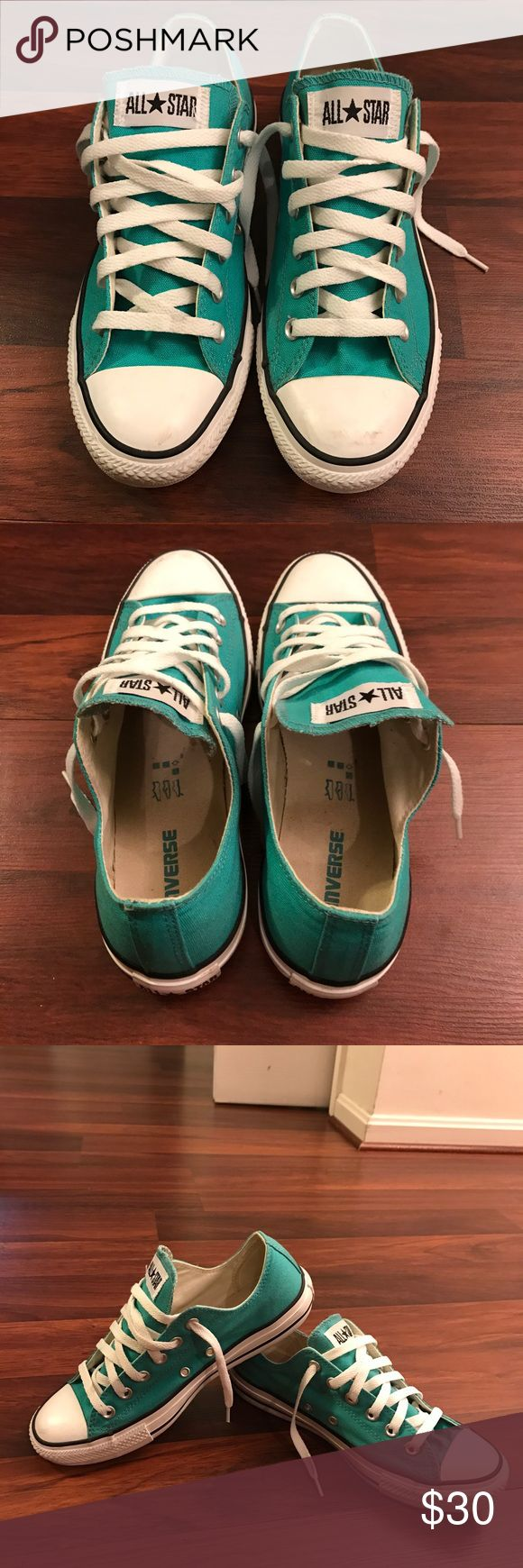 Converse Chucks Low Turquoise Converse Chucks Low Turquoise Sz. Women's 9/ Men's 7  Flaws: scuffs on toe of both shoes. Normal wear all over. Great Condition Converse Shoes Sneakers
