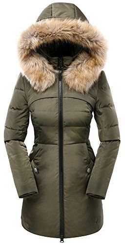 Valuker Women's Down Coat with Hood 90% Down Parka Fur Winter Jacket