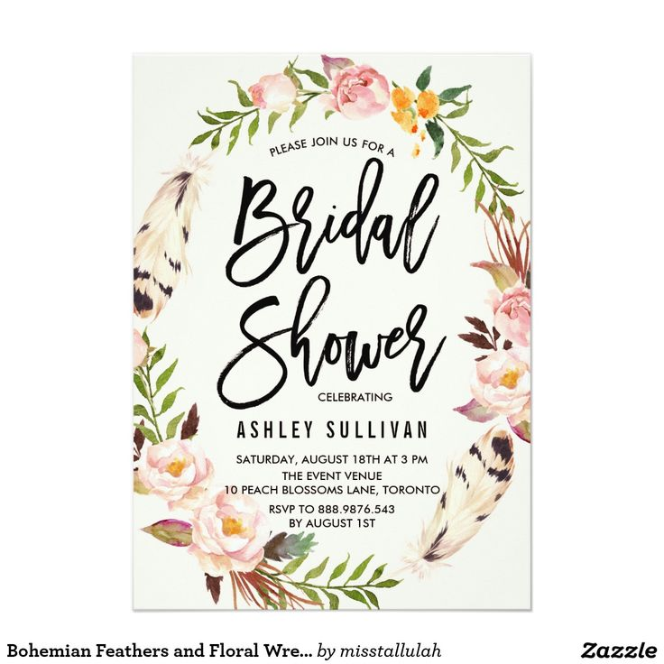 183 best wedding invitation images on pinterest bridal invitations bohemian feathers and floral wreath bridal shower card stopboris Choice Image