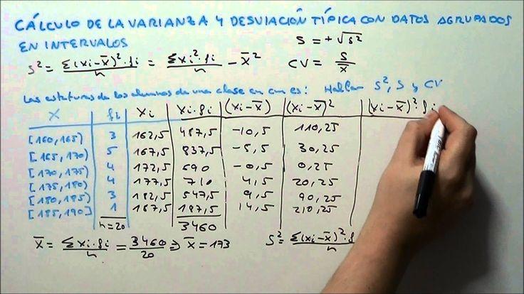 Càlcul variançia i desviació típica amb dades agrupades en intervals